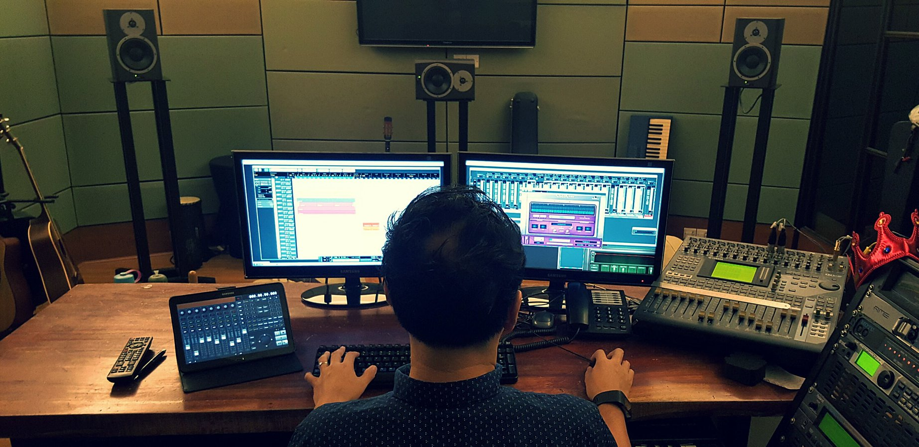 Jinx Chin composing some new musical tracks.
