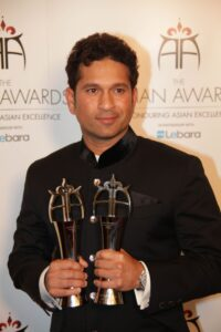 Record breaking cricketer Sachin Tendulkar at the Asian Awards