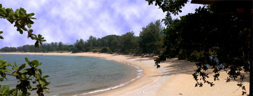The beach view from our suite at Tanjong Jara Resort