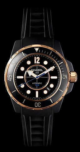 CHANEL J12 Marine Automatic 300M 18k pink gold and ceramic watch