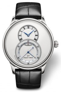 For its third model, Jaquet Droz has given the Grande Seconde Quantième a look of great purity with a silvery-white dial.