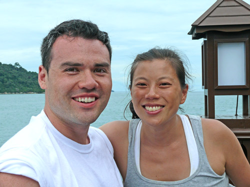 Daniel and Mimi, two newly weds from New York having a wonderful time at Pangkor Laut Resort