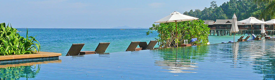 The stunning infinity pool at Pangkor Laut resort