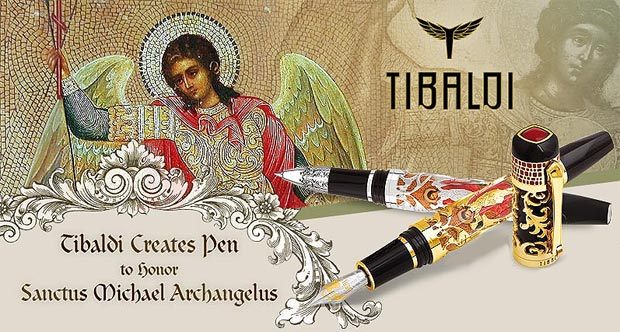 Montegrappa Sanctus Michael Archangelus pen in engraved silver and solid gold from Tibaldi.