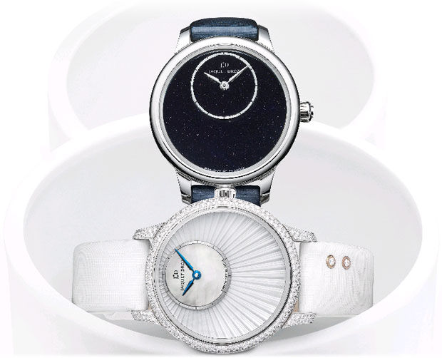 Jaquet Droz Petite Heure Minute watches in Aventurine, Ivory Enamel and mother-of-pearl
