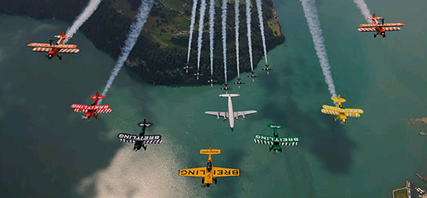 The Breitling aerobatic jet team takes to the skies above Lake Lucerne in Switzerland