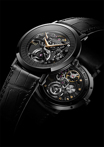 "Piaget, ""Altiplano Skeleton"", Ref. G0A36522. Refined and unique, ultra-thin, black PVD-treated 18K gold wristwatch"