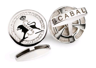 Scabal limited edition 10th anniversary 18k white gold and diamond cufflinks
