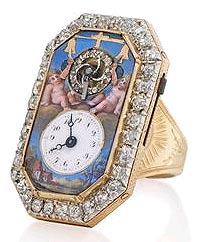 a rare and previously unrecorded enamel and diamond-set ring watch with its original fitted box, circa 1810