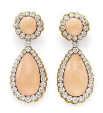 Elizabeth Taylors Van Cleef and Arpels Larmes Coral, Diamond and Yellow Gold Ear Pendants from 1969.