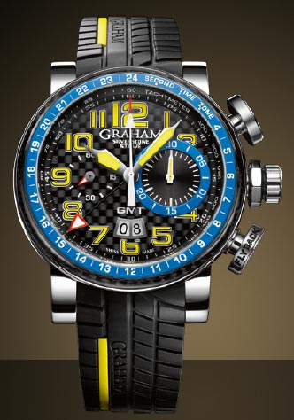 Graham London Silverstone Stowe GMT Chronograph watch in Blue and Yellow, Ref. 2BLCH.B06A with integrated black tyre tread rubber strap