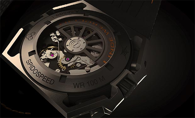 The Linde Werdelin SpidoSpeed Black Orange Chronograph wrist watch 100A