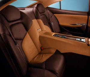 The bulk of the Fisker Karma's luxurious interior material on the EcoStandard™ and EcoSport™ models comes from Bridge of Weir, with seats, steering, dash, door-casings and the centre-console trim all wrapped in the Scottish company's locally produced Low Carbon Leather™.