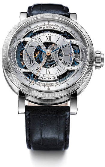 The Grieb & Benzinger Blue Ocean watch. A Skeletonised Monopusher Chronograph in solid platinum