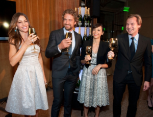 (L-R) Sofia Vergara, Gerard Butler, Rashida Jones, and Ludovic du Plessis, Vice President of Moet & Chandon celebrate the 69th Annual Golden Globe Awards nominations with Moet & Chandon Grand Vintage 2002 at the Beverly Hilton Hotel on December 15, 2011 in Beverly Hills, California. (Photo by Michael Kovac) This year the Champagne house celebrates 21 yrs as the official champagne of the Golden Globes. (PRNewsFoto/Moet & Chandon)
