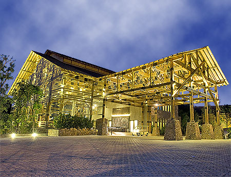 The spectacular lobby at the Philea Resort in Malacca