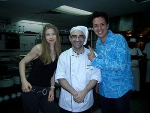 Paul and Natasha Godbold with Chef Giovanni at the Senja Restaurant at Saujana
