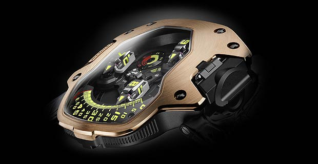 The Urwerk UR-110 RG Torpedo watch protected with solid red gold armour.