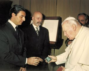 Giuseppe Aquila head of Montegrappa with Pope John Paul II