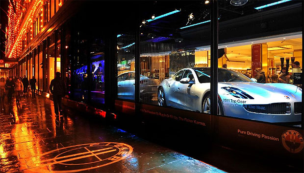 The Fisker Karma luxury electric car takes pride of place in Harrods of London window