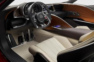 The interior of the LF-LC contrasts the cool ambience of advanced technology with soft textures and organic shapes