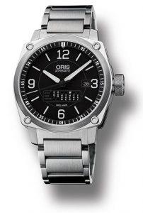 The Oris BC4 Retrograde Day watch with linear retrograde calendar display