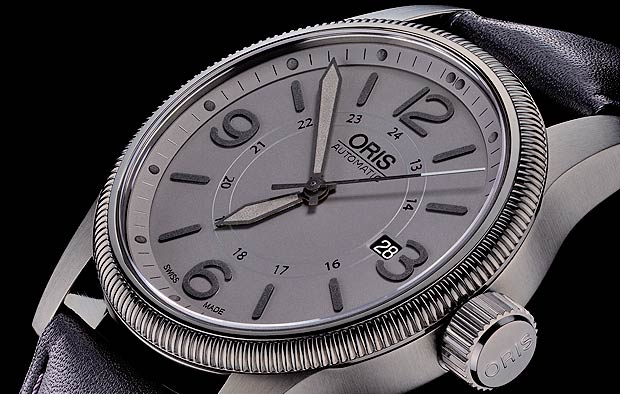 The new Oris Big Crown Date watch in stealth grey with 3D Superluminova numerals