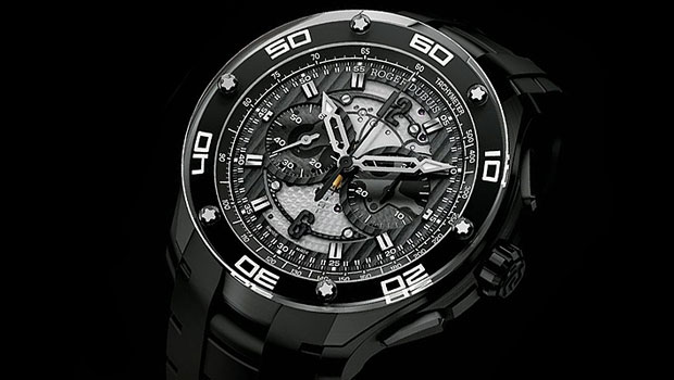 The Roger Dubuis Pulsion Chronograph 44mm wrist watch in Black Titanium