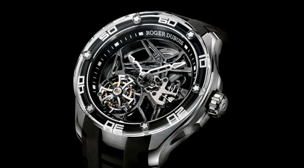 The Roger Dubuis Skeleton Flying Tourbillon in Titanium, a combination of dynanism and strength