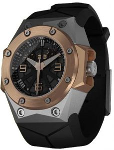 The Linde Werdelin Oktopus II Double Date in Titanium or Titanium and Rose Gold.