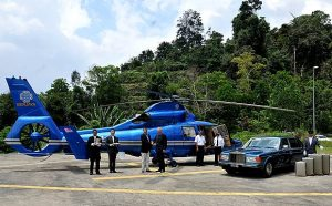 Arrival at the Chateau in Berjaya's Private Helicopter