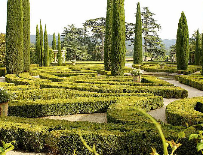 Gorgeous Italianate gardens with pools and fountains grace the ...