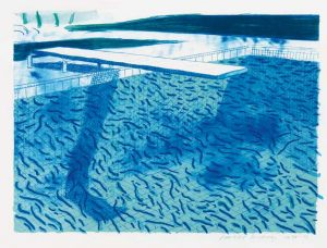 David Hockney (b. 1937), Lithograph of Water made of thick and thin Lines and two light blue Washes (POOL #1E) Estimate £25,000 - 30,000
