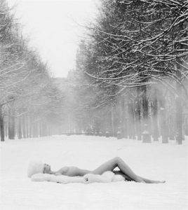The Patrick Lichfield: Nudes photography exhibition. Picture: Girl on snow, USSR, 1989 © Unipart Group Ltd / Patrick Lichfield
