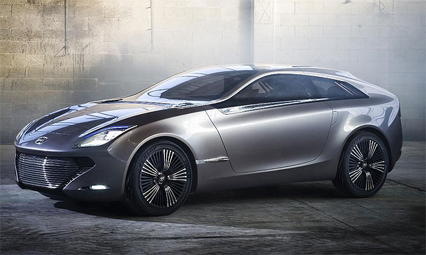 The Hyundai i-oniq concept car, an electric sports car with mated to a petrol engine.