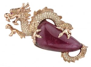 18K Rose Gold Dragon Brooch: 1 Tourmaline - 67.02 carat, 287 Fancy Yellow Diamonds - 3.539 carat, 1 Ruby - 0.008 carat, 25.90 grams