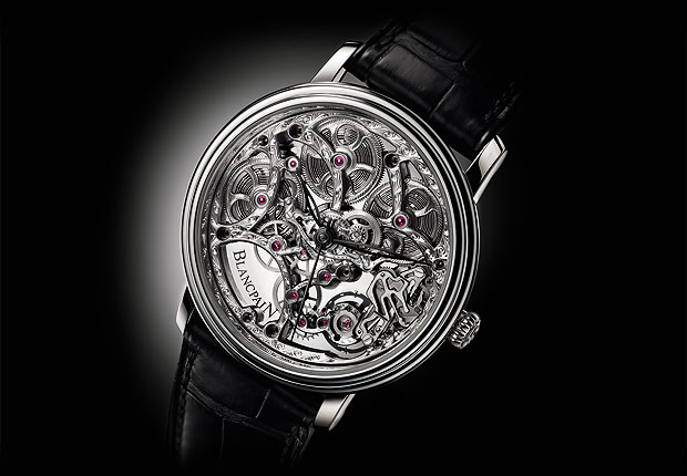 The Blancpain Villeret Squelette 8 Jours 38mm wrist watch in white gold.