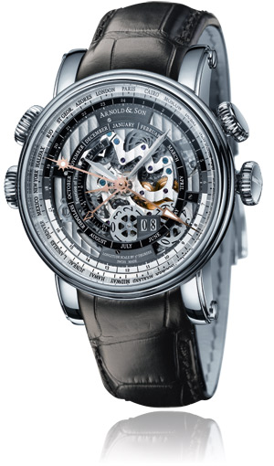 The Arnold & Son Hornet World Timer Skeleton wrist watch.