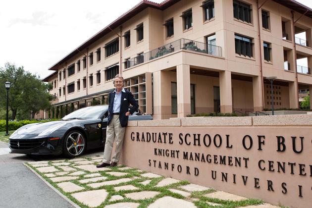Ferrari head Luca Di Montezemolo talks to heads of Apple and Google at Standford University.