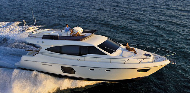The Feretti Group Displays Sevn of its models at the 2012 Rio Boat Show.