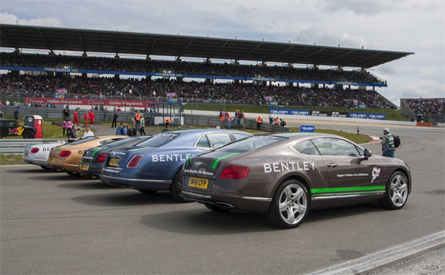 Star drivers lead Bentley fleet of official parade cars at the Nürburgring 24 Hour Race.