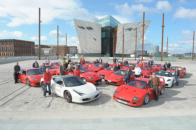 22 Ferrari Cars gather for a special Titanic event in Belfast, Northern Ireland.