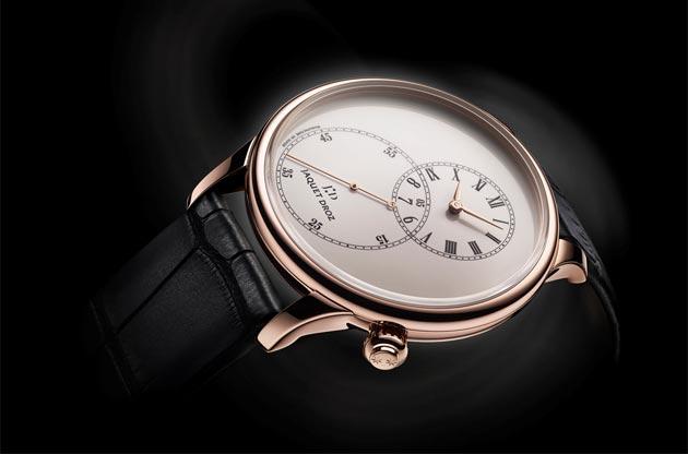 The Jaquet Droz Grande Seconde off-centered ivory enamel wrist watch.