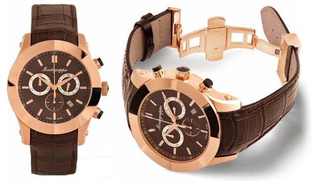 The Montegrappa NeroUno Chronograph watch in steel, rose gold and light grey PVD finish.