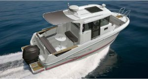 The new 23 feet Barracuda 7 fishing boat from French boat builder Beneteau.
