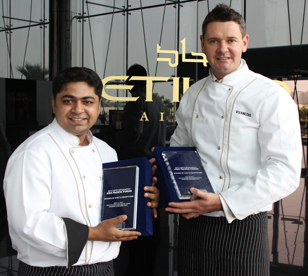 Etihad Airways' in-flight chef, Francois Van Zyl, and Nadeem Farooq, from Abu Dhabi In-Flight Catering Company, have triumphed in the prestigious 2012 Asia-Pacific Onboard Travel Chef's Competition.