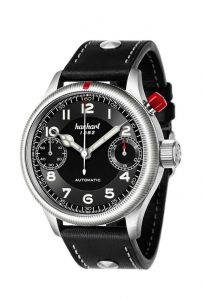 The Hanhart Pioneer Monoscope watch with a single button to control all chronograph functions.
