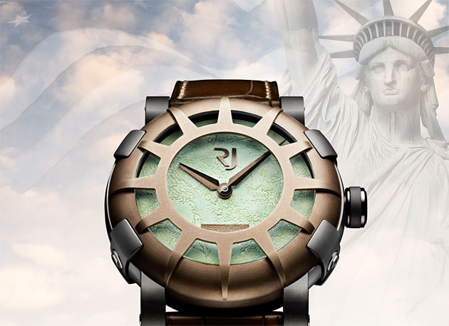 The Romain Jerome Liberty-DNA watch celebrating the 125th anniversary of the Statue of Liberty.