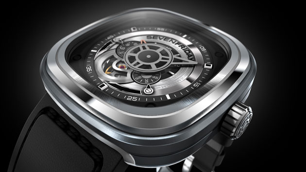 """The Sevenfriday P1 watch, cool and slightly restrained in the coloring symbolizes the present industrial esthetics, the """"Industrial Essence"""". For this reason the colors silver, black and rhodium are mainly used."""