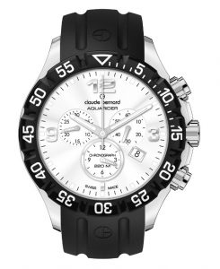 This 42 mm stainless steel professional diver chronograph watch is water resistant to 720 feet and features a protected crown and pushers. The unidirectional rotating bezel is divided into easy-to-read 60-minute increments, and the three chronograph subdials record intervals of 30 minutes, 12 hours and continuous seconds. Equipped with a precision, Swiss made quartz movement; virtually any event can be timed or measured with this rugged, dependable watch — including future gold medal attempts.